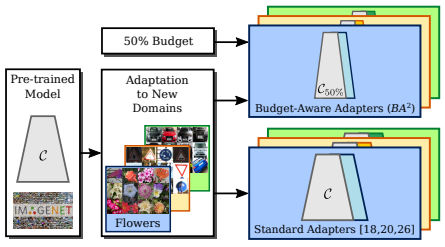 Budget-Aware Adapters for Multi-Domain Learning